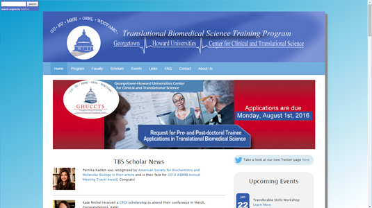 Georgetown Howard University Translational Biomedical Science Website
